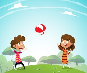 Brother and sister playing with the ball vector