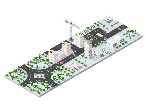 Building city module cartoon vector