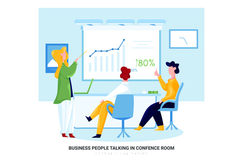 Business peoplr talking in confence room cartoon illustration vector
