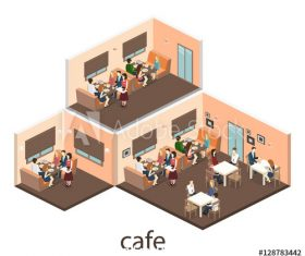 Cafe 3D building model vector