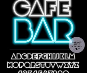 Cafe bar color alphabet vector
