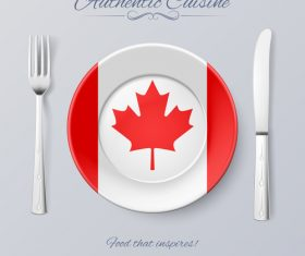 Canada authentic cuisine and flag circ icon vector