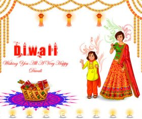 Cartoon Happy Diwali of India vector