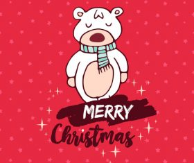 Cartoon bear christmas element card vector