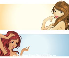 Cartoon beautiful girl banner vector