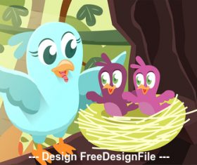 Cartoon bird feeding vector