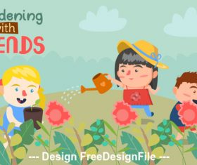 Cartoon children watering flowers Illustration vector