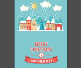 Cartoon christmas new year card vector