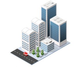 Cartoon city high rise vector