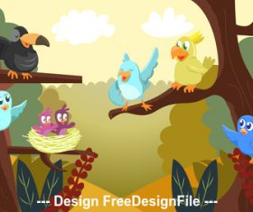 Cartoon cute bird party vector