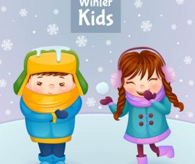 Cartoon cute winter kids vector