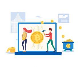 Cartoon digital currency illustration vector