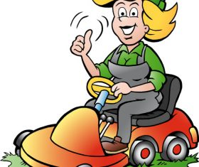 Cartoon driving lawnmower gardener lady vector
