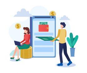 Cartoon e-wallet illustration vector