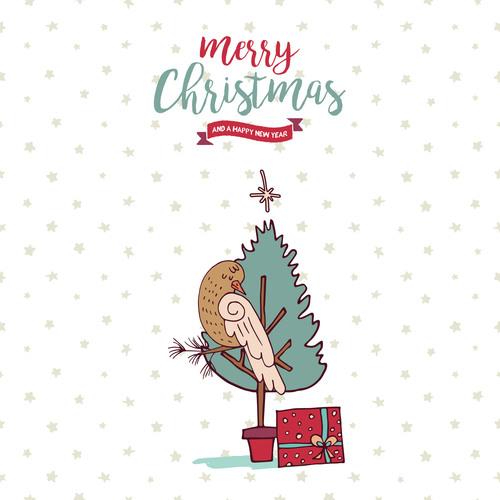 Cartoon element card christmas vector