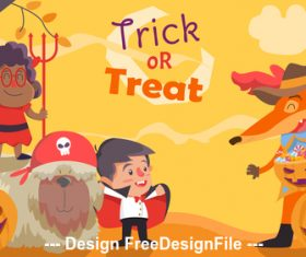 Cartoon funny halloween Illustration vector
