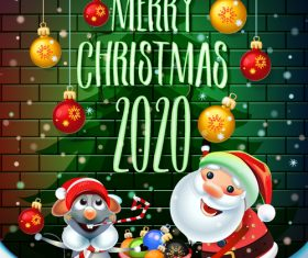 Cartoon greeting card 2020 happy christmas vector