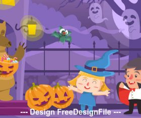 Cartoon halloween illustration vector