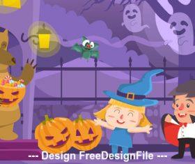 Cartoon halloween illustration vector