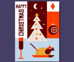 Cartoon happy christma postcar vector