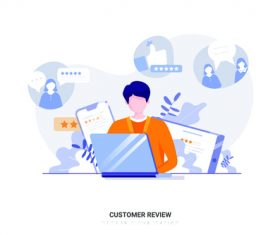 Cartoon illustration customer review vector