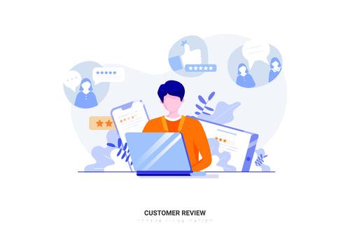 Cartoon illustration customer review vector