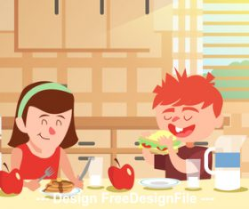 Cartoon illustration for children and mother vector