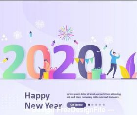 Cartoon illustration happy new year colorful 2020 number vector