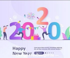 Cartoon illustration happy new year vector