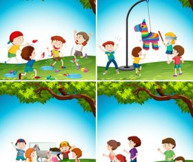 Cartoon illustration kids playing vector