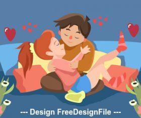 Cartoon illustration love hug vector