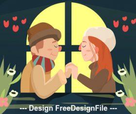 Cartoon illustration love vector