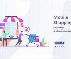 Cartoon illustration mobile shopping vector