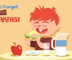 Cartoon illustration of children eating breakfast vector