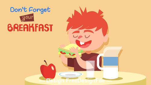 Cartoon illustration of children eating breakfast vector