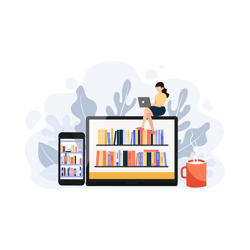 Cartoon illustration online reading vector