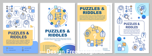 Cartoon illustration puzzles riddles interface vector
