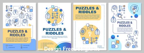 Cartoon illustration puzzles riddles interface vector
