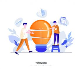 Cartoon illustration teamwork vector