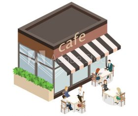 Cartoon model outdoor cafe vector