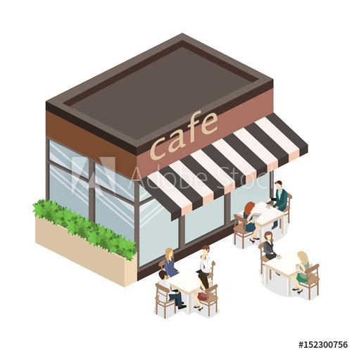 Cartoon model outdoor cafe vector