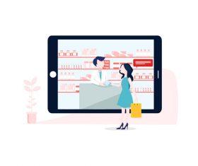 Cartoon online purchase medicine illustration vector