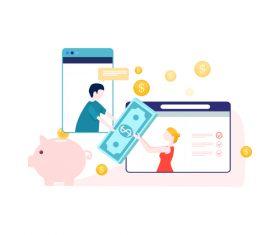 Cartoon online trading illustration vector