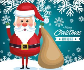 Cartoon santa claus and gift bag vector