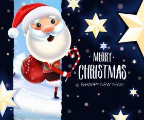 Cartoon santa claus greeting card vector
