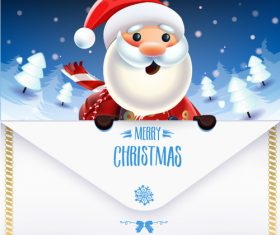 Cartoon santa claus postcard vector
