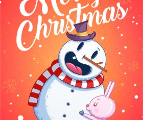 Cartoon snowman merry xmas illustration vector