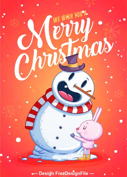 Cartoon snowman merry xmas illustration vector