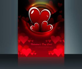 Cartoon valentine red heart shaped brochure cover vector