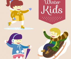 Cartoon winter kids vector